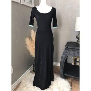 LuLaRoe Ana Maxi Dress In Black With Mint Trim
